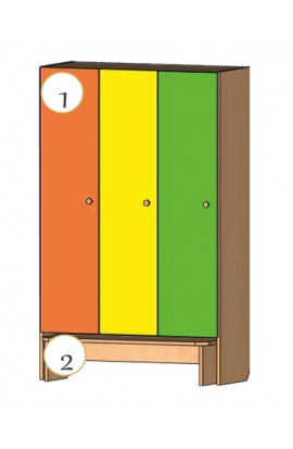 Шкаф для детской одежды со скамьей для одевания (3-х местный)