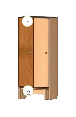 Шкаф для детской одежды со скамьей для одевания (2-х местный)