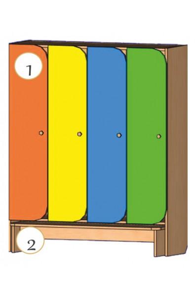 Шкаф для детской одежды со скамьей для одевания (4-х местный) с фигурными дверями