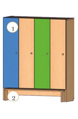 Шкаф для детской одежды со скамьей (4-х местный)